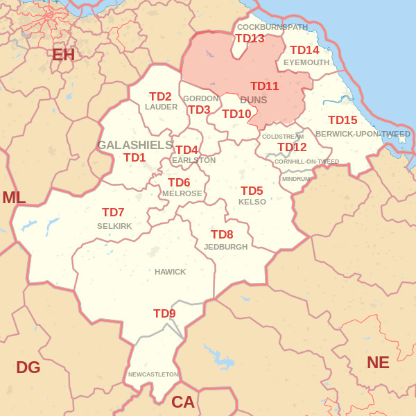 Map showing the TD11 Postcode area Cpvered By Hawick skip Hire