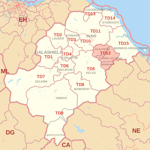 Map showing the TD12 Postcode area Covered By Hawick skip Hire