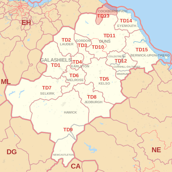 Map showing the TD13 Postcode area Covered By Hawick skip Hire