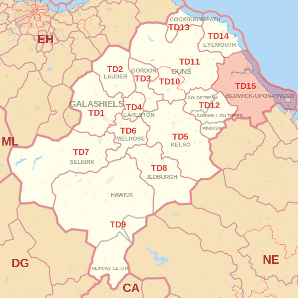 Map showing the TD15 Postcode Area Hawick skip Hire