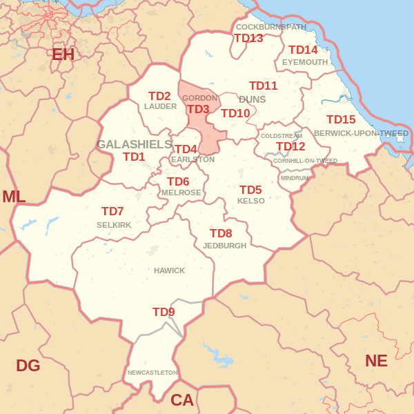 Map showing the TD3 Postcode area Covered By Hawick skip Hire