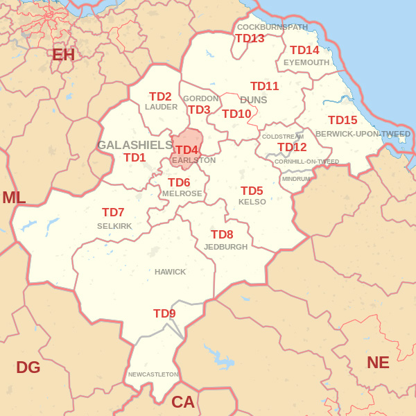 Map showing the TD4 Postcode area Cpvered By Kelso skip Hire