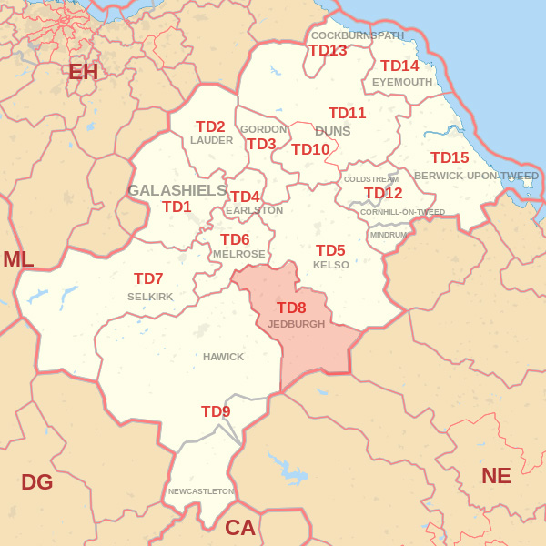 Map showing the TD8 Postcode area Covered By Hawick skip Hire